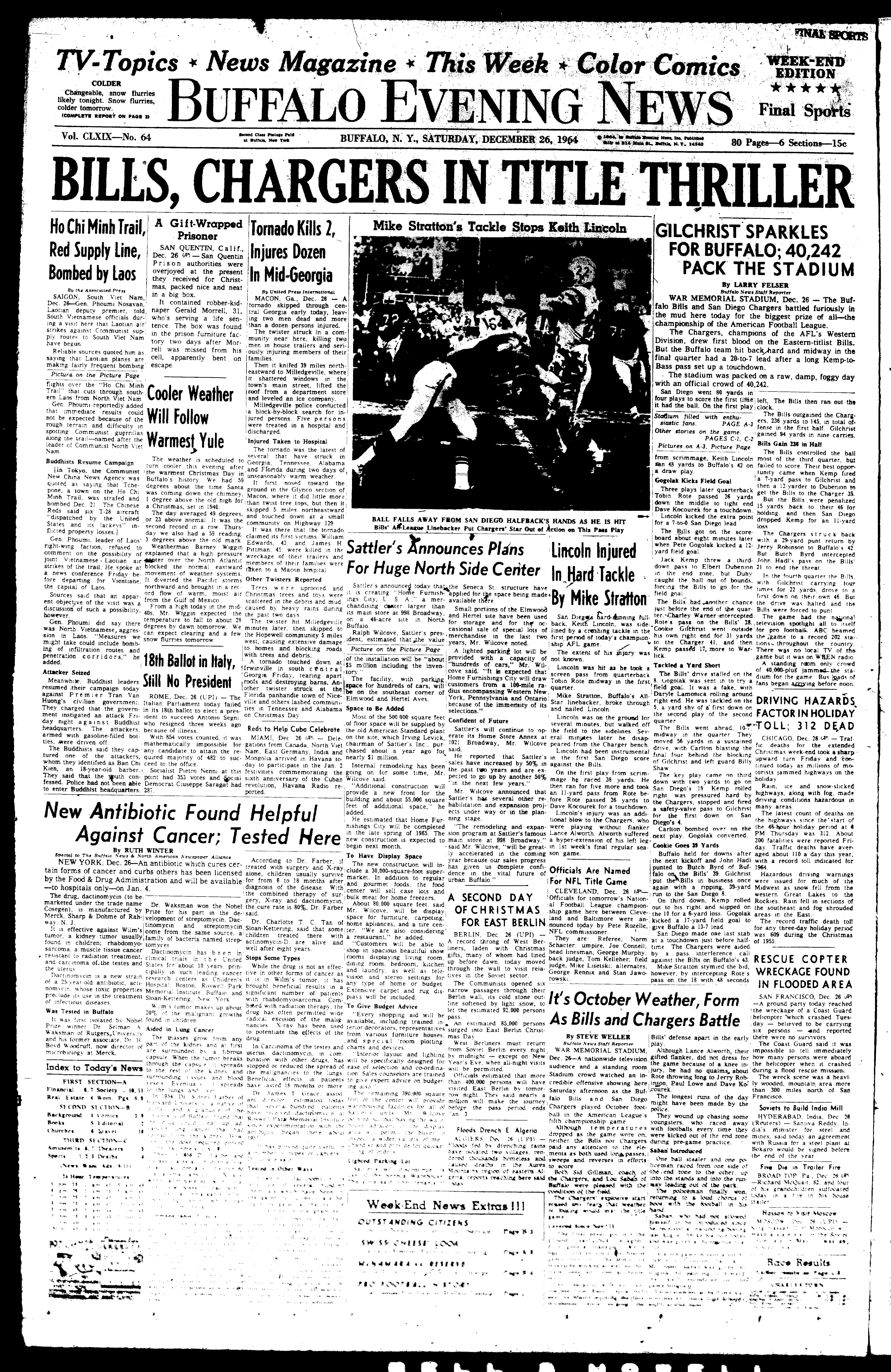 The cover of the buffalo evening news published just before the game