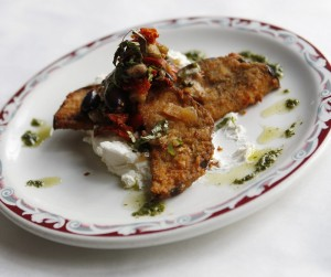 Crispy Eggplant Fritters with Sicilian caponata, whipped goat cheese and garden basil pesto