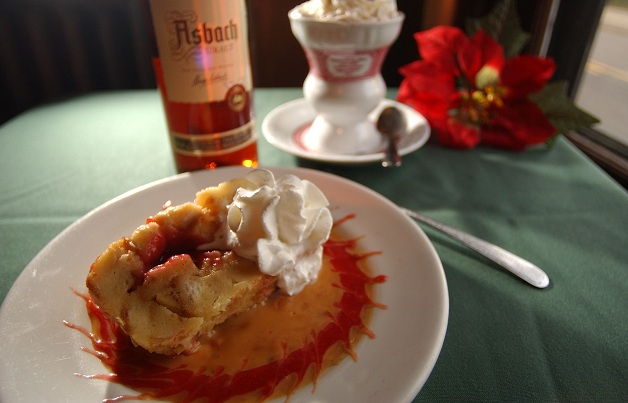 The cherry bread pudding from Ulrich's -- a rich comfort food. (Robert Kirkham / Buffalo News file photo)