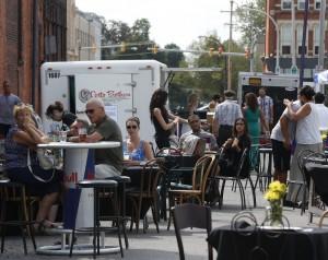 Ulrich's Tavern's grand-opening party shut down Virginia Street from Washington to Ellicott. (Robert Kirkham / Buffalo News)