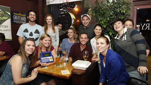 Team Tort, a group of incoming first-year UB law students pose during trivia. (Sharon Cantillon / Buffalo News)