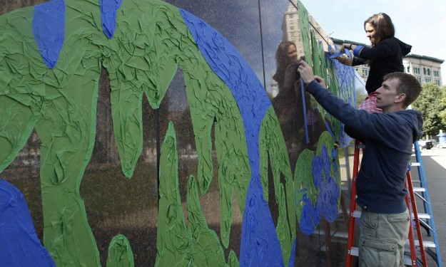 New mural made from painters' tape appears at Central Library