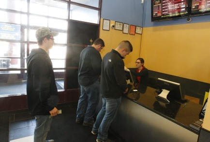 "Moviegoers gather in Lancaster to watch Sony's ""The Interview,"" even though it was pulled from distribution. (John Hickey/Buffalo News)"