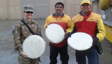 The frozen pizzas will be delivered piping-hot to each U.S. troop in Afghanistan just in time for Sunday's game. (Laurie Manzardo)