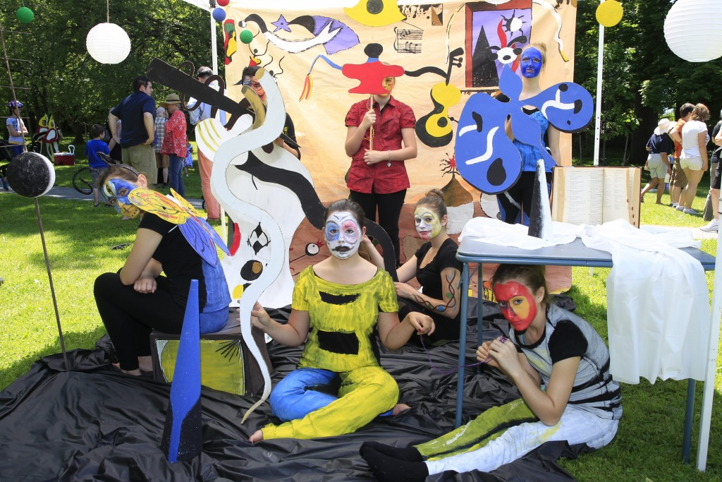"Queen of Heaven Art Club  students recreate Joan Miro's ""Carnival Harlequin"" 1924-24 at ArtAlive at Albright Knox Art Gallery in Buffalo, N.Y., on  Saturday, June 7, 2014.   (John Hickey/Buffalo News)"