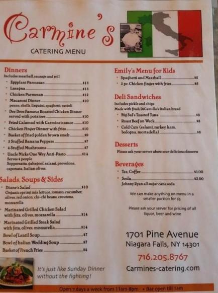 Carmine s opens in niagara falls little italy for The local italian menu