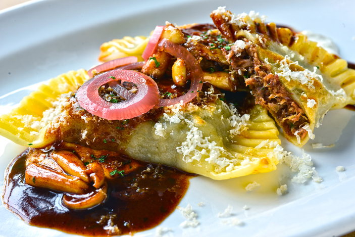 """""""Uber-beefy"""" oxtail pierogi at The Mess Hall are made with the chef's grandmother's classic dough recipe."""