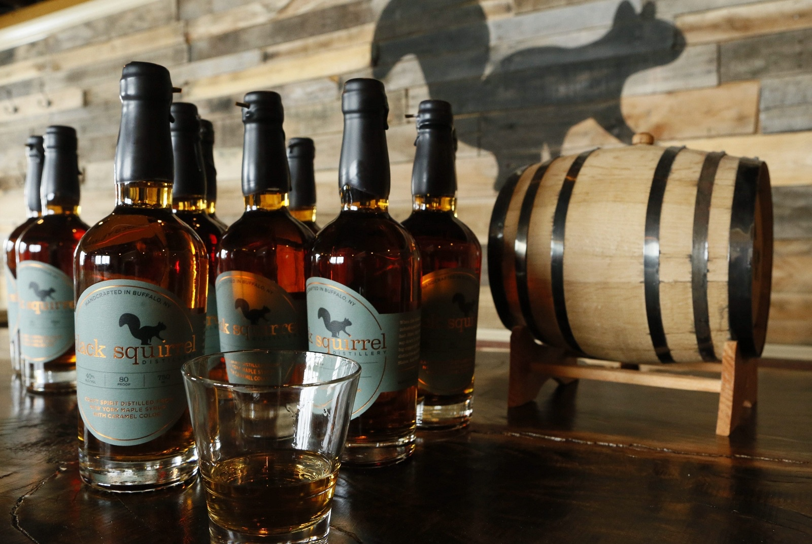 Black Squirrel, a craft spirit distilled from N.Y. state maple, made at a new distillery on Elmwood Avenue near Amherst Street, Feb. 19, 2015. (Derek Gee/Buffalo News)