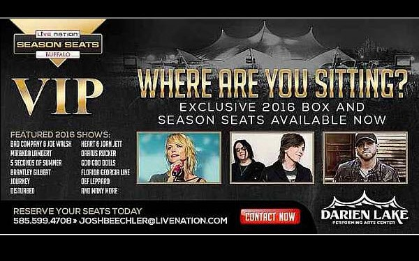 Darien Lake Performing Arts Center Season VIP Seats