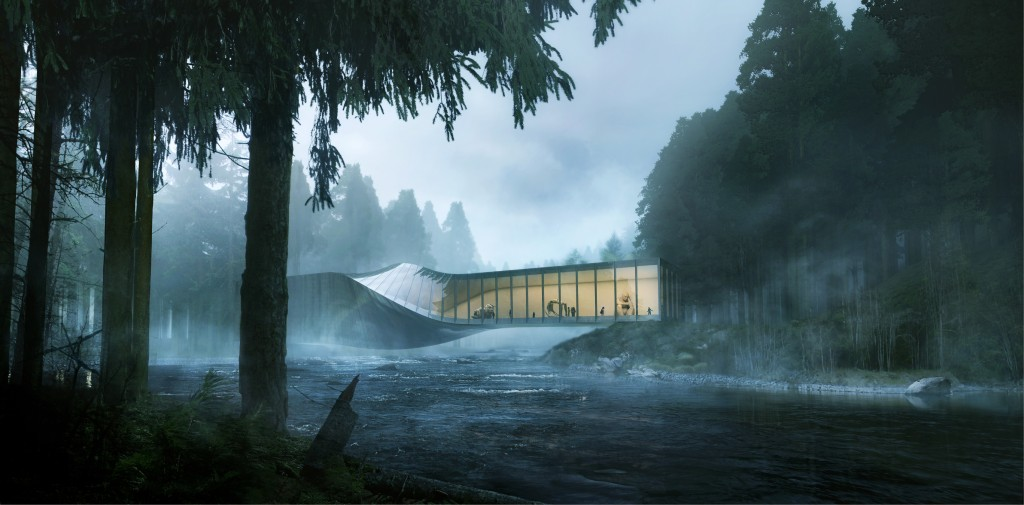 BIG's twisted-bridge design for the Kistefos Museum in Norway seems to emerge naturally from the landscape.