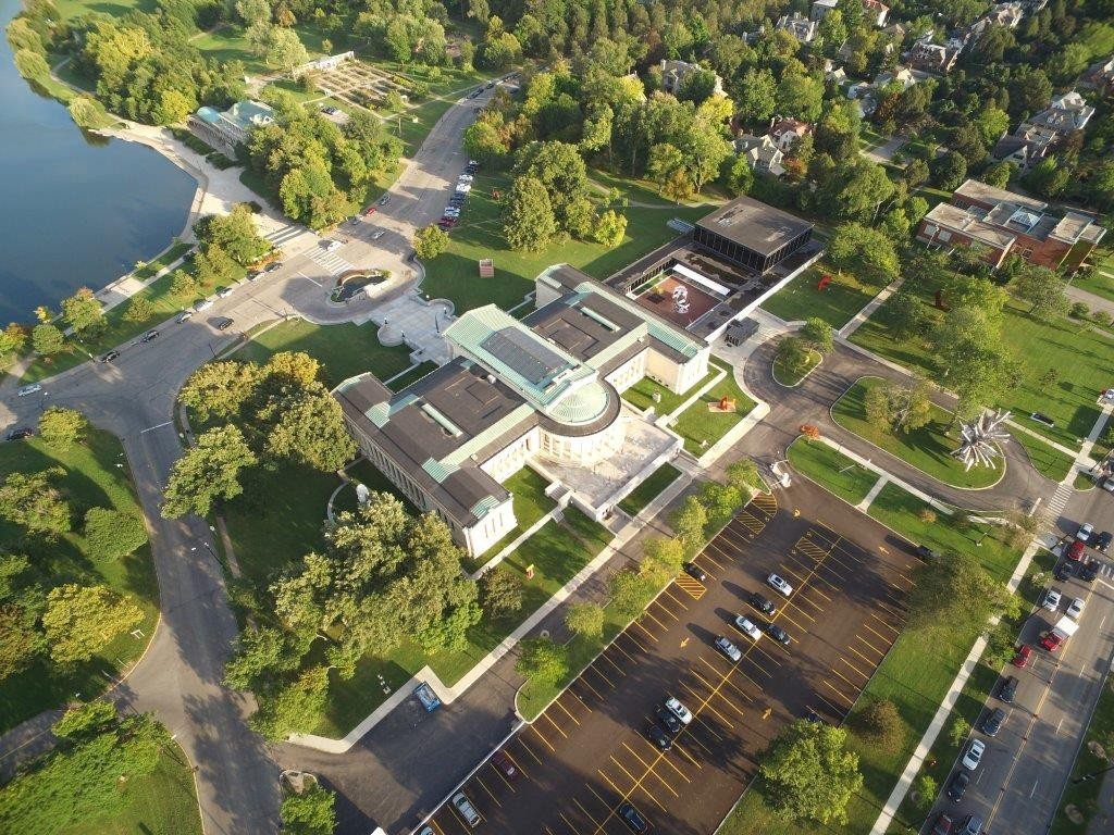 The Albright-Knox Art Gallery's campus, shown in this aerial view provided by the gallery, includes E.B. Green's original 1905 building (foreground), Gordon Bunshaft's modernist addition and Green's disconnected Clifton Hall (upper right). The buildings include about 12,178 square feet of prime exhibition space and 24,237 of mediocre or poor space, which the gallery intends to renovate.