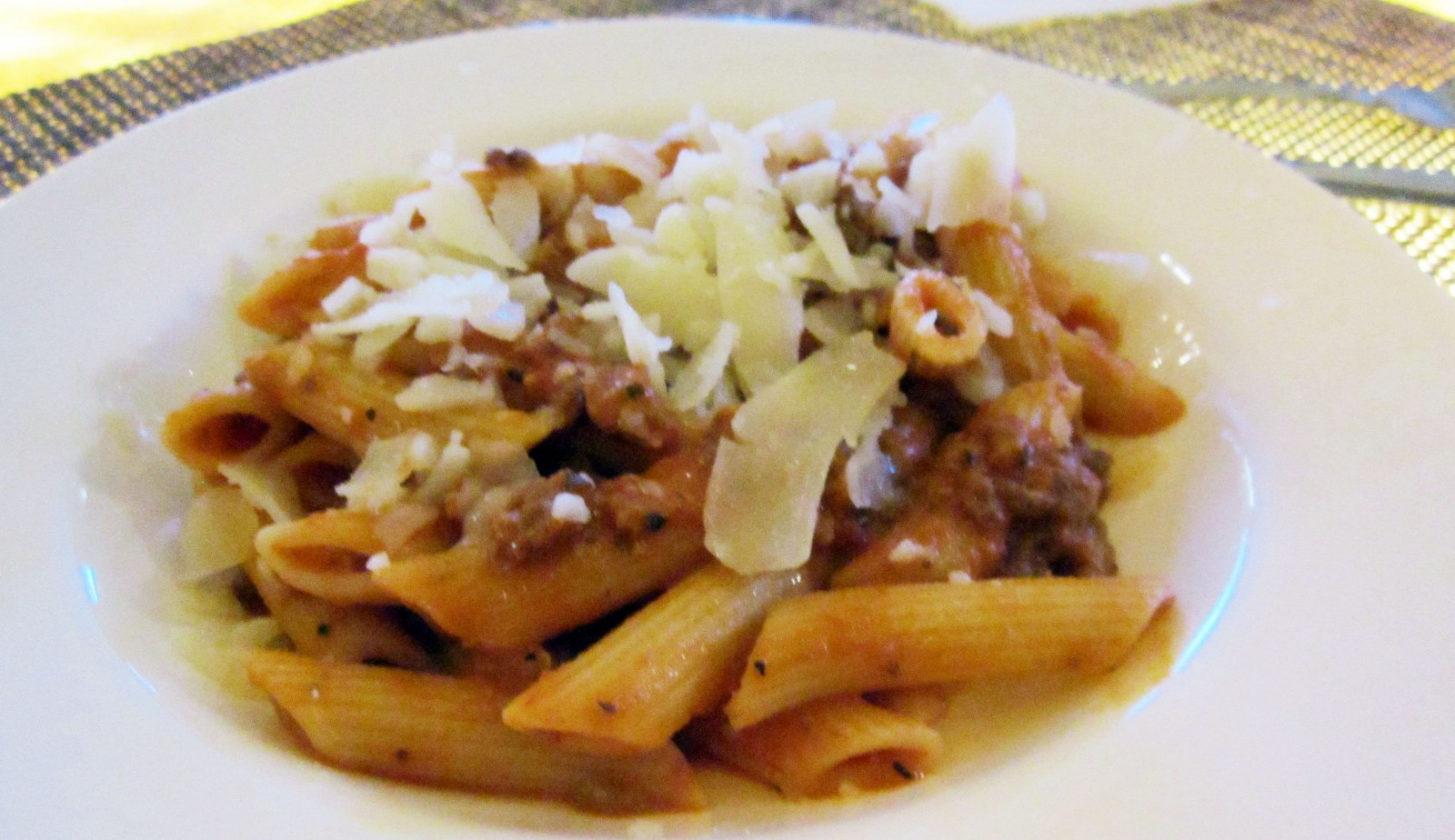 Penne Pasta with Meat Sauce from the special Tuesday menu.