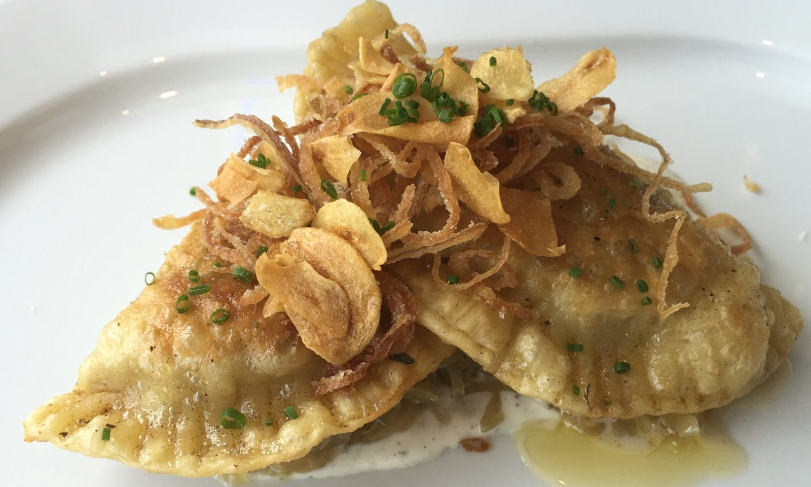 Potato-leek pierogi with fried shallots and garlic, housemade ...